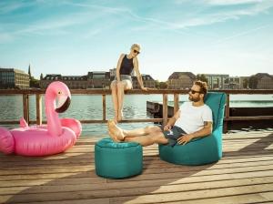 Sitzsack-Set Scuba Swing + Hocker petrol