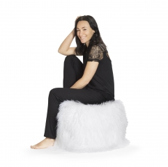 Naturfell-Sitzsack PAMINA-Cube weiß mit Inlett