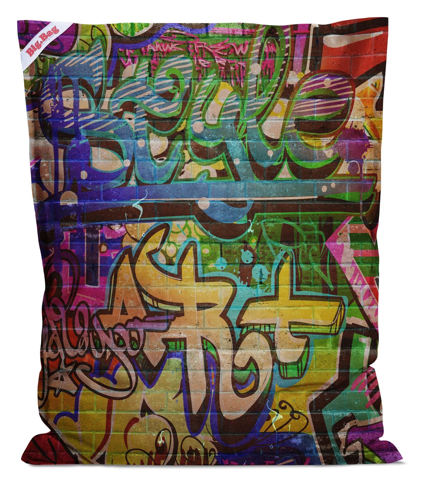 sitzsack brava big bag graffiti 130x170cm schwarz. Black Bedroom Furniture Sets. Home Design Ideas