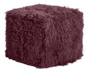 Naturfell-Sitzsack PAMINA-Cube weinrot mit Inlett