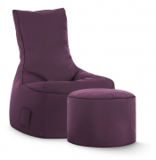 Sitzsack-Set Brava Swing + Hocker aubergine