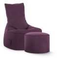 Sitzsack-Set Scuba Swing + Hocker aubergine